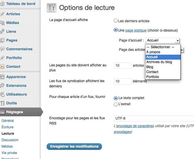 WordPress – Appliquer un modèle à la page d'accueil