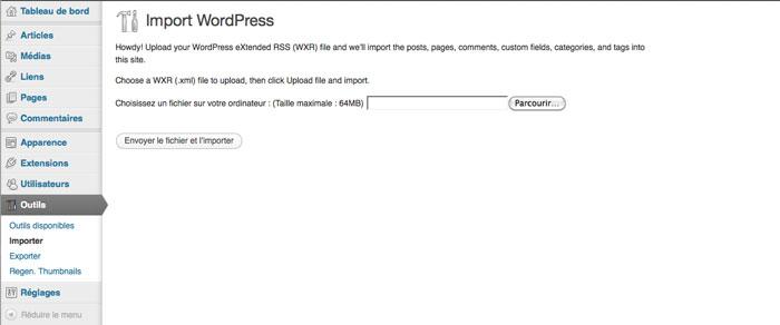 Importer le contenu d'un site WordPress.com vers un site WordPress.org