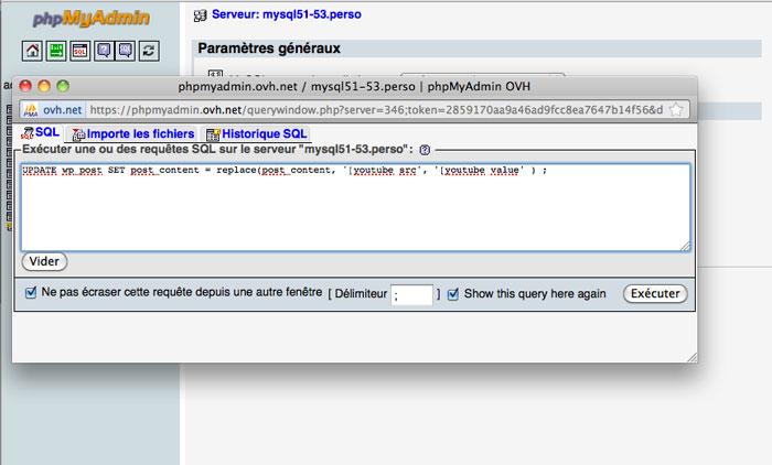 Requette MySQL, pour modifer les shortcodes de votre WordPress