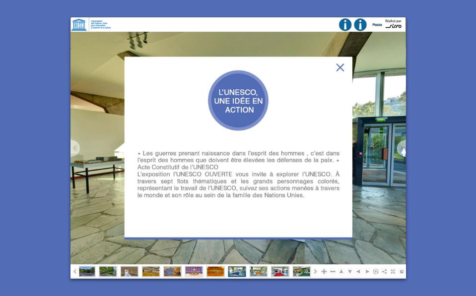 Visite virtuelle du siège de l'UNESCO – Étape 1, anglais (Description détaillée ci-dessous)