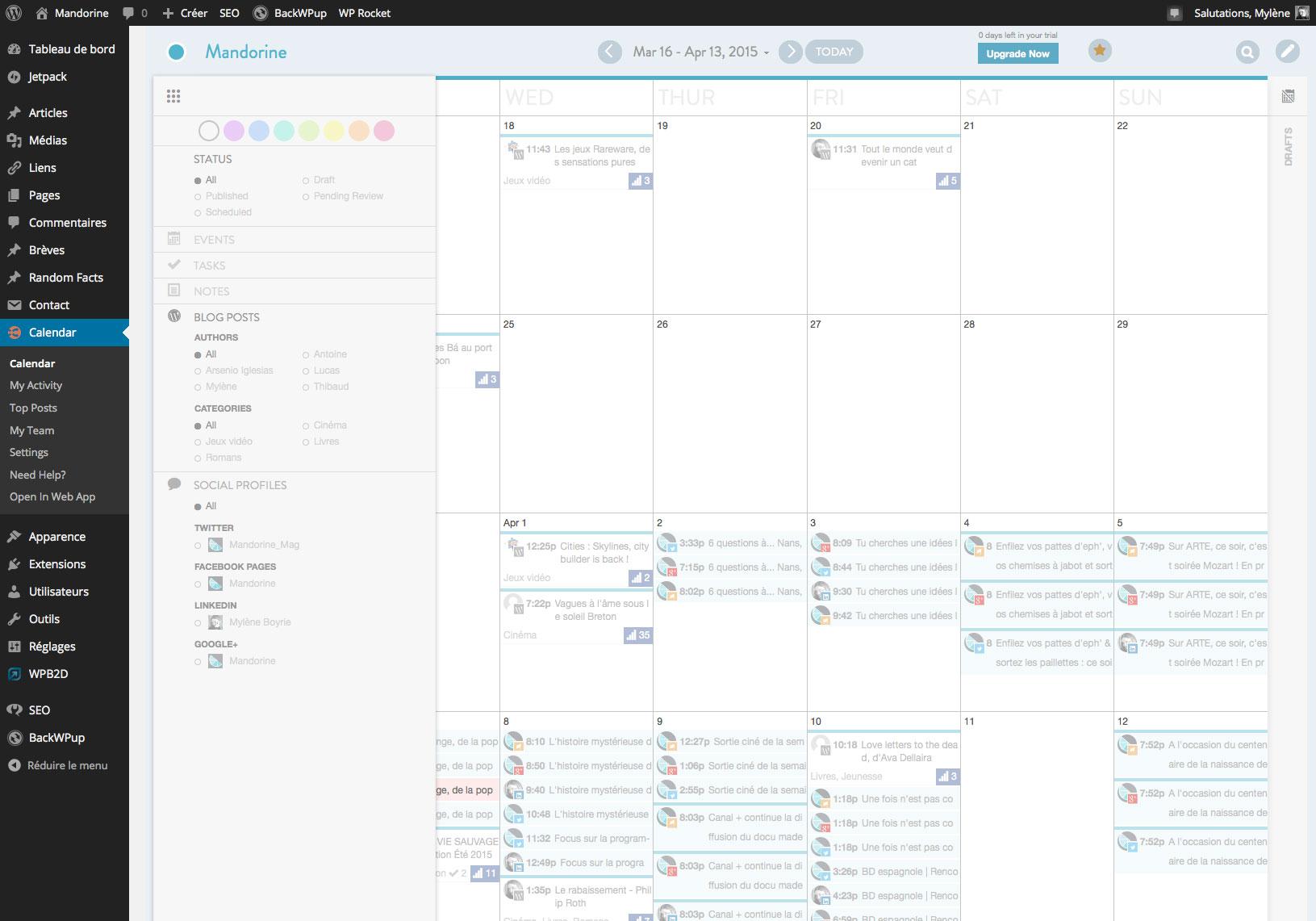 Les filtres d'affichage du calendrier éditorial de CoSchedule