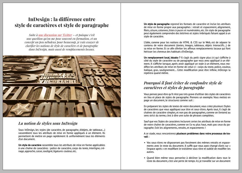 InDesign : la différence entre style de caractères et style de paragraphe
