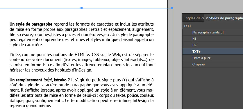 InDesign : exemple de remplacement local.