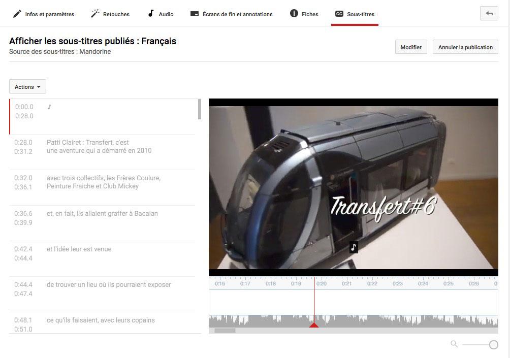 Capture d'écran de l'interface Youtube de création de sous-titres.