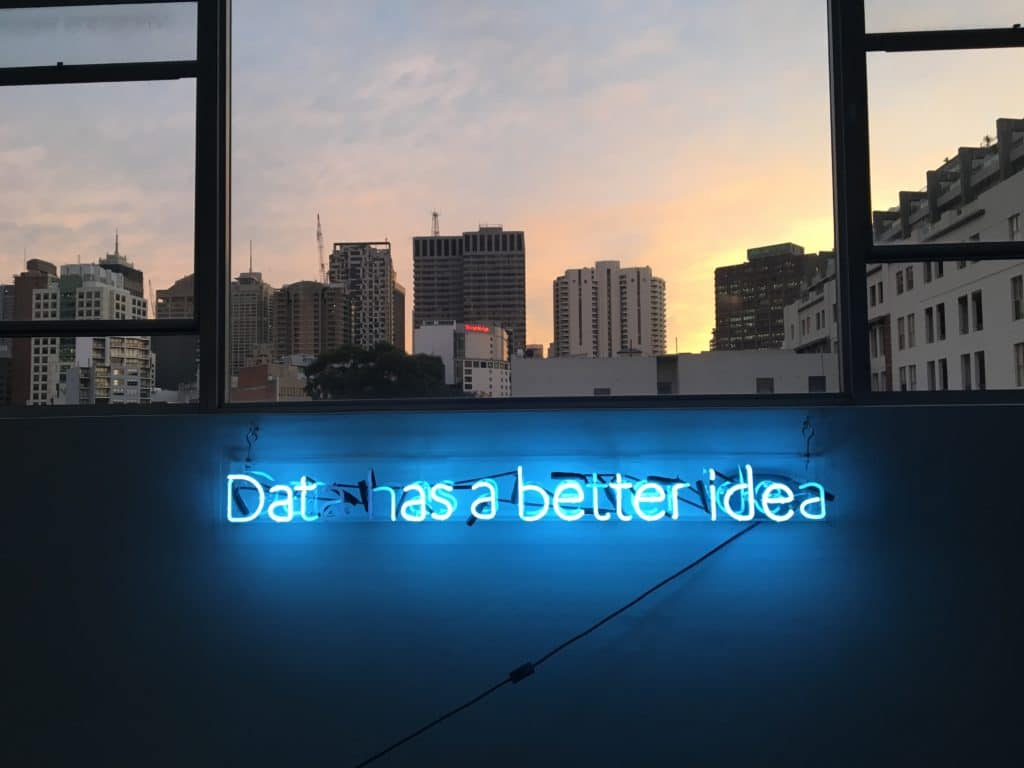 "Photo Blue neon sign, ""Data has a better idea"""