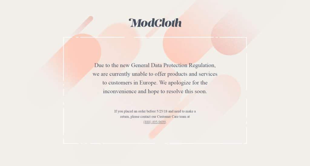 Capture d'écran du site Modcloth pour les internautes européens.