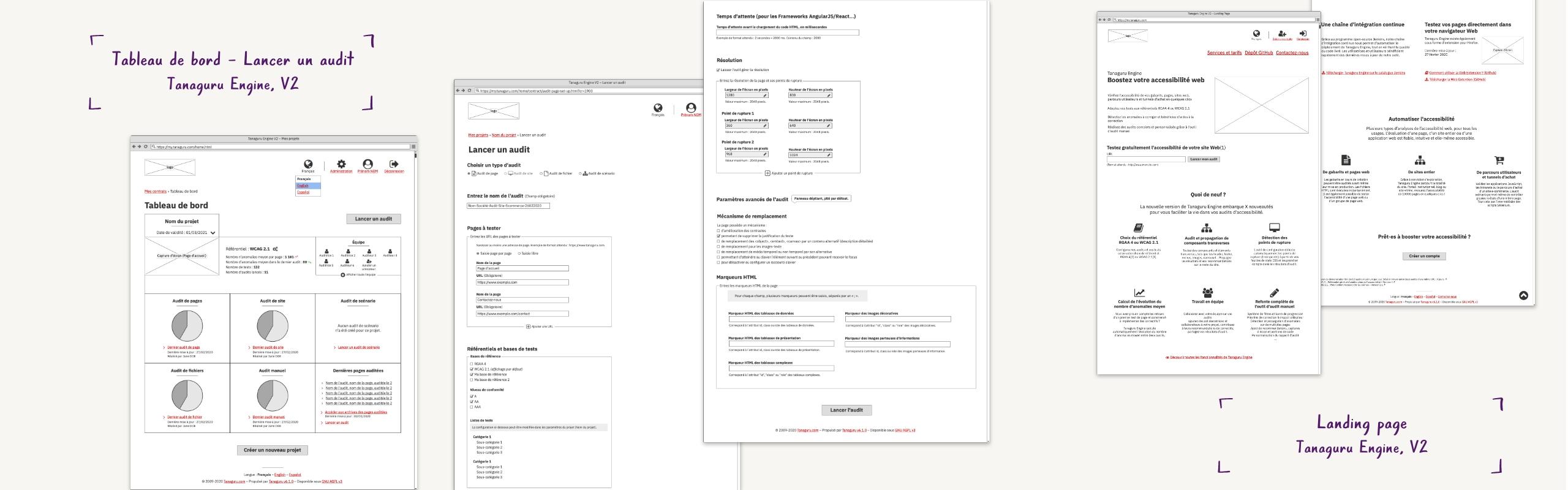 Wireframes : Tableau de bord – Lancer un audit, Landing page – Tanaguru Engine, V2