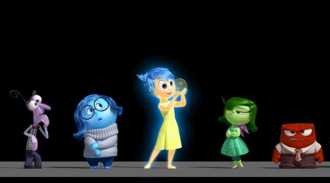 Coucou les émotions! (de gauche à droite: Peur, Tristesse, Joie, Dégoût et Colère)