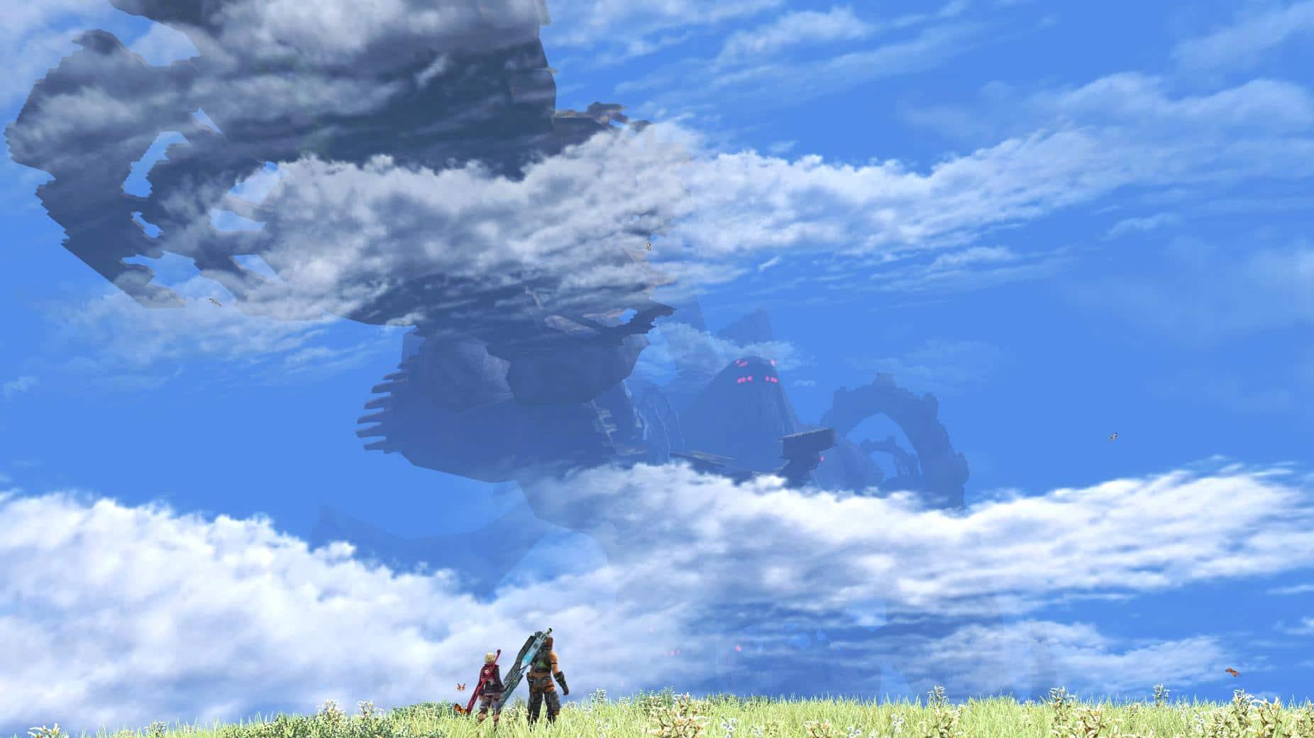 Shulk et Reyn admirent au loin Mekonis.